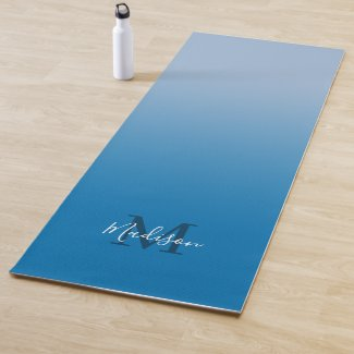 Minimal Sky Blue Gradient Monogram Script Name Yoga Mat