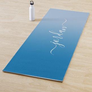 Minimal Sky Blue Gradient White Script Name Yoga Mat