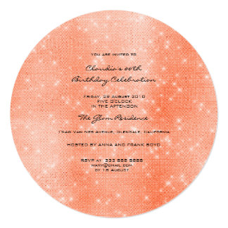 Minimal Sparkly Round Shape  Coral  White Sequins Card