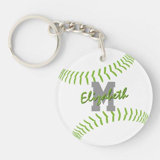 minimal sports lime gray white softball bag tag keychain