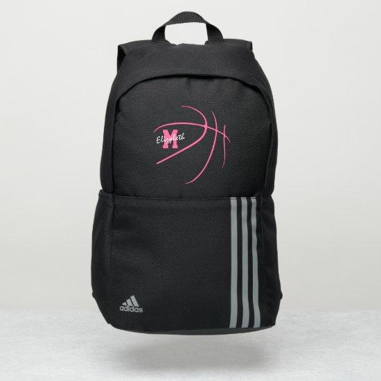 minimal sports monogrammed pink basketball adidas backpack