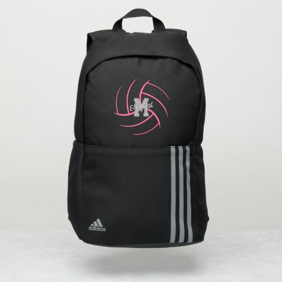 minimal sports monogrammed pink volleyball adidas backpack
