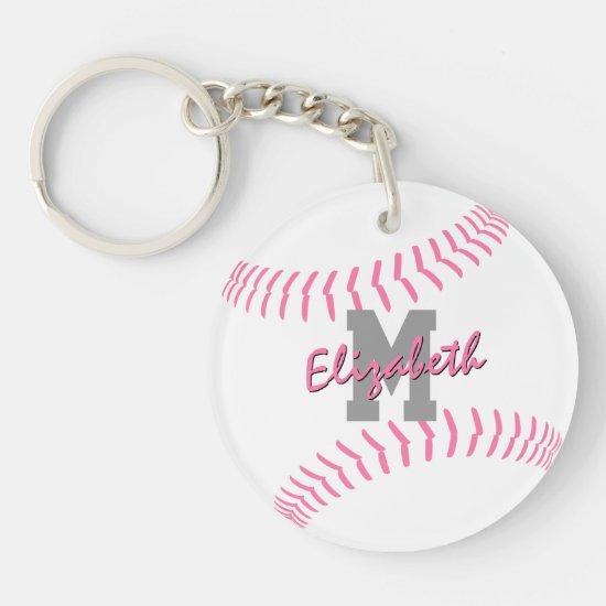 minimal sports pink gray white softball bag tag keychain