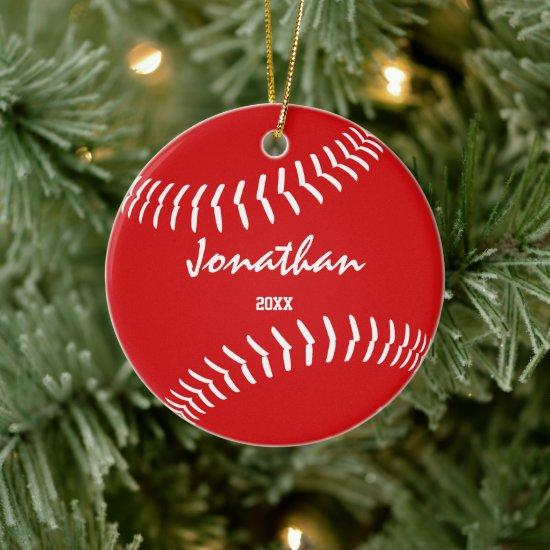 minimal sports red green baseball softball ceramic ornament
