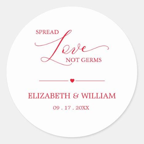 Minimal Spread Love Not Germs Hand Sanitizer Favor Classic Round Sticker