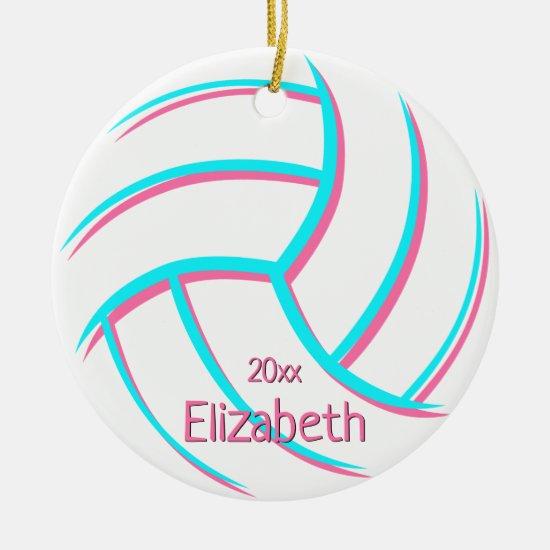 minimal turquoise pink girly keepsake volleyball ceramic ornament