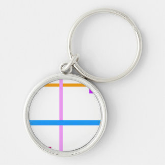 Minimal Vertical and Horizontal Lines Silver-Colored Round Keychain