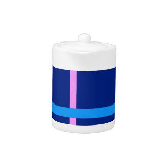 Minimal Vertical and Horizontal Lines Navy Teapot