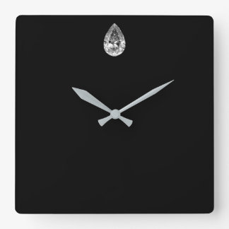 Minimal Vip Black Silver Diamond Graphite Metallic Square Wall Clock