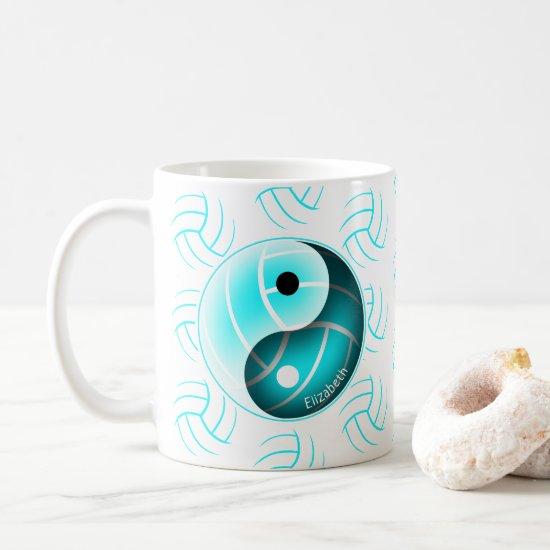 minimal w yin yang girls sports volleyball coffee mug