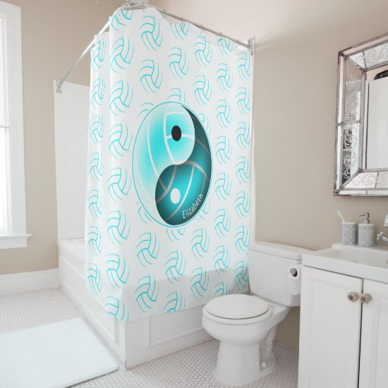 minimal w yin yang girly turquoise volleyball shower curtain