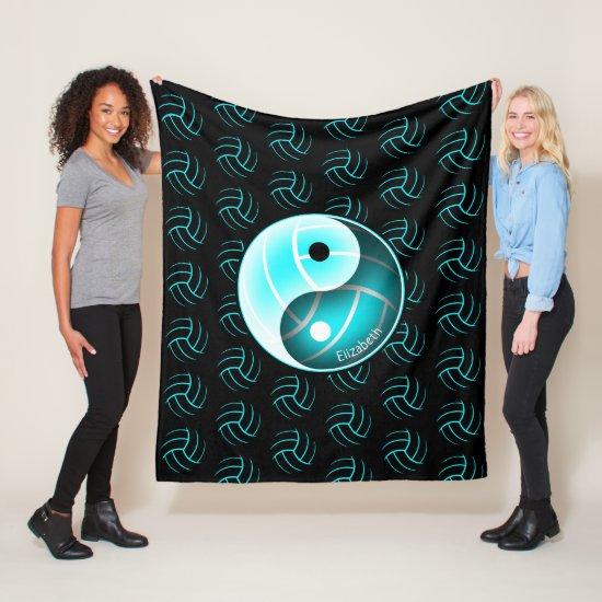 minimal w yin yang girly volleyball room decor fleece blanket
