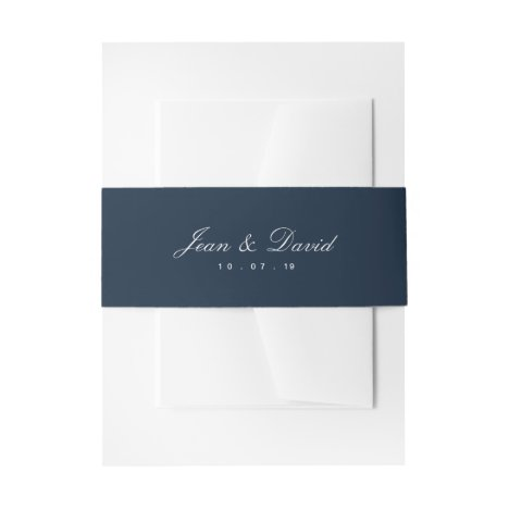 Minimal Wedding Invitation Belly Band - Navy