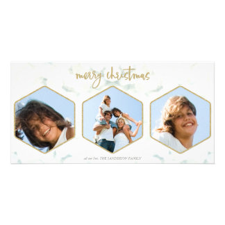 Minimal White and Gold Merry Christmas 3 Photos Card