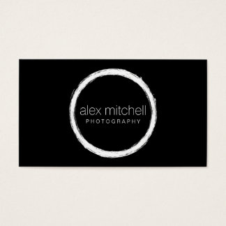 Minimal White Brushstroke Circle Photographer Business Card