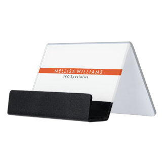 Minimal White & Coral Red Stripe SEO Specialist Desk Business Card Holder