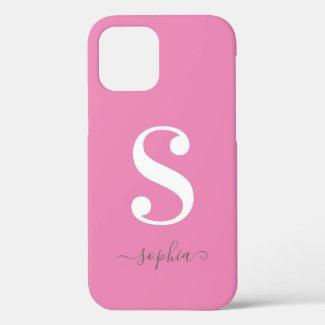 Minimal White Monogram Grey Script Name on Pink Case-Mate iPhone Case