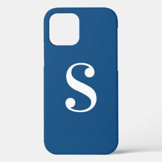 Minimal White Monogram on Navy Blue Case-Mate iPhone Case