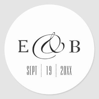 Minimal White | Monogram Wedding Classic Round Sticker