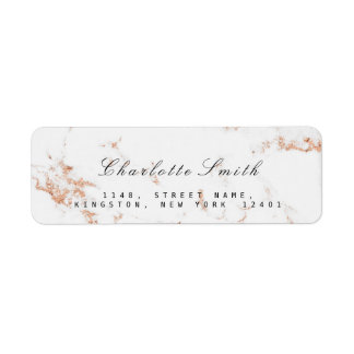Minimal White Rose Gold Copper Marble RSVP Label