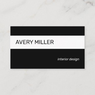 Minimal White Stripe on Black Business Card