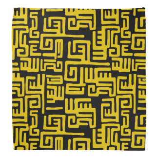 Minimal Yellow Black African Tribal Pattern Bandana