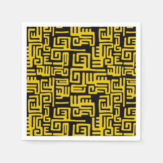 Minimal Yellow Black African Tribal Pattern Napkin