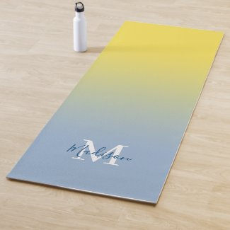 Minimal Yellow Blue Gradient Monogram Script Name Yoga Mat