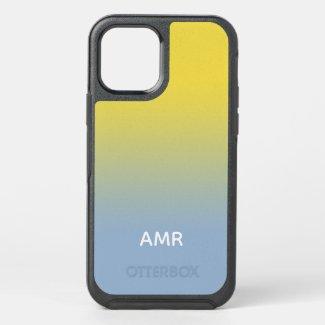 Minimal Yellow to Light Blue Gradient Monogram OtterBox iPhone Case