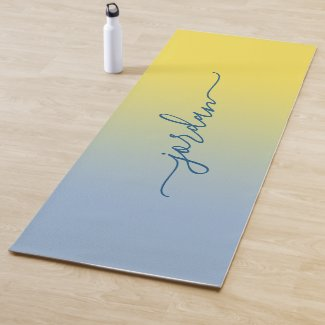Minimal Yellow to Light Blue Gradient Script Name Yoga Mat
