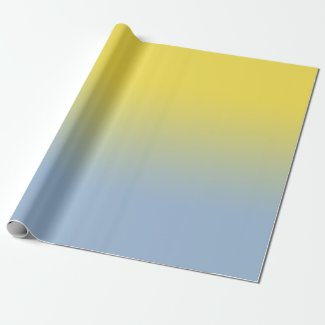 Minimal Yellow to Light Blue Ombré Wrapping Paper