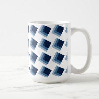 Minimalism abstract blue cubes pattern mug