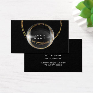 Minimalism Gold Black White Glass Ball Business Card