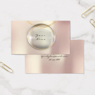 Minimalism Golden Ball Glass Pearly Pink Blush Business Card