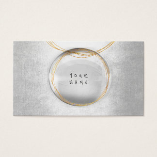 Minimalism Golden Ball Glass Silver Vip Glam Business Card