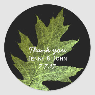 Minimalism Mint Gold Wedding Thank you Classic Round Sticker