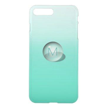 Beach Themed Minimalism Monogram Monochromatic Mint Ombre Ball iPhone 7 Plus Case