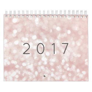 Minimalism Pastel Pink Rose Sparkly Lights Calendar