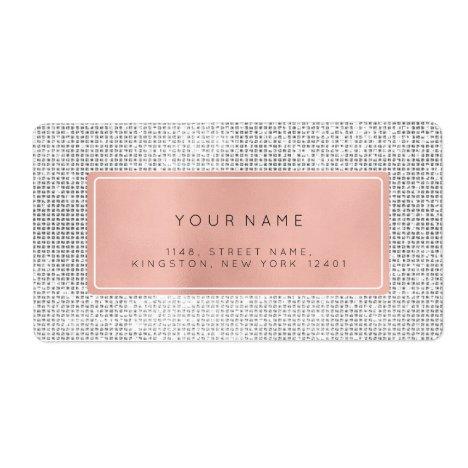 Minimalism Pink Rose Foil Silver Return Address Label