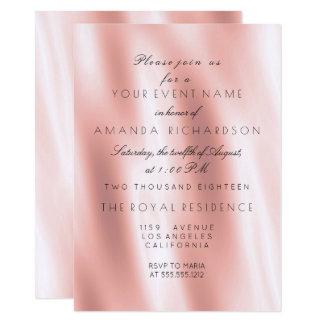 Minimalism Rose Blush Silk Fabric Gold Birthday Card