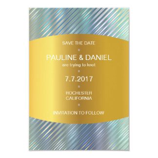 Minimalism Save The Date Blue Golden Vip Card