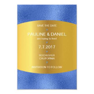 Minimalism Save The Date Cobalt Blue Golden Vip Card