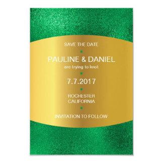 Minimalism Save The Date Emerald Green Golden Vip Card