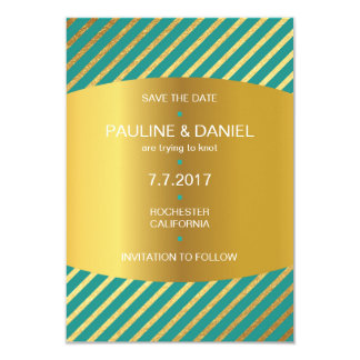 Minimalism Save The Date Golden Stripes Vip Card