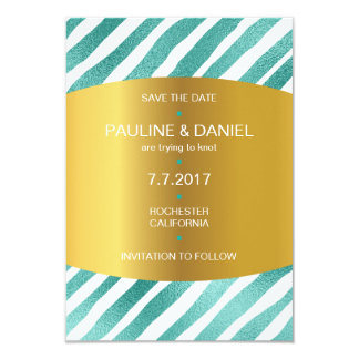 Minimalism Save The Date Mint Golden Vip Card