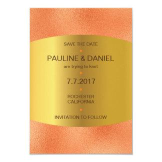 Minimalism Save The Date  Orange Golden Vip Card