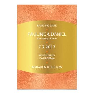 Minimalism Save The Date Peach Orange Golden Vip Card