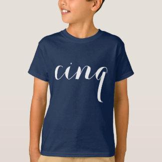 "Minimalist 5th Birthday Shirt   French ""cinq"""