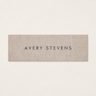 Minimalist Artist Simple Plain Linen Mini Business Card