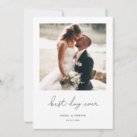 Minimalist Best Day Ever Wedding Photo Announcement